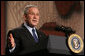 "President George W. Bush gestures as he as he delivers his remarks Thursday, Feb. 14, 2008 at the Smithsonian National Museum of African Art, on his upcoming trip to Africa. Speaking in praise of the continent President Bush said, ""Africa in the 21st century is a continent of potential. It's a place where democracy is advancing, where economies are growing, and leaders are meeting challenges with purpose and determination.""  White House photo by Chris Greenberg"