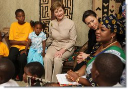 Mrs. Laura Bush joins a discussion with orphans and caretakers at the WAMA Foundation Sunday, Fab. 17, 2008 in Dar es Salaam, Tanzania, during a meeting to launch the National Plan of Action for Orphans and Vulnerable Children. White House photo by Shealah Craighead