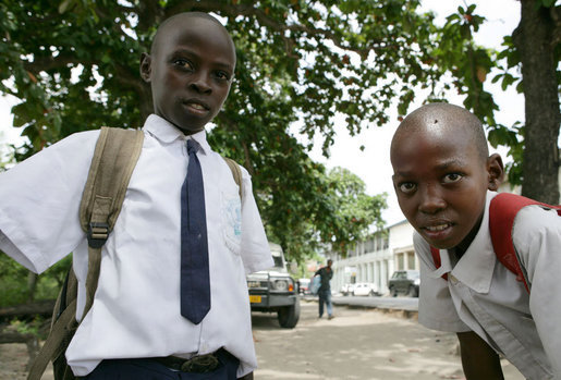 Little boys in school uniforms pose for a photo, Monday, February 18, 2008 in the Tanzanian capitol of Dar es Salaam. White House photo by Chris Greenberg