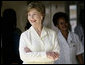 Mrs. Laura Bush smiles as she meets with patients and staff Monday, Feb. 18, 2008, doing a tour of the outpatient clinic at the Meru District Hospital in Arusha, Tanzania. White House photo by Shealah Craighead