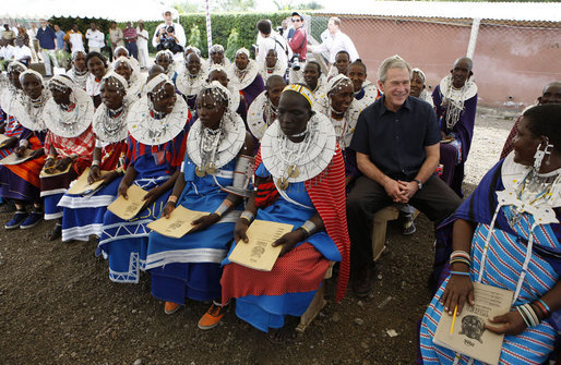 President George W. Bush visits with students and staff Monday, Feb. 18, 2008, at the Maasai Girls School in Arusha, Tanzania. White House photo by Eric Draper