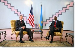 President George W. Bush meets with the President of Rwanda Paul Kagame Tuesday Feb. 19, 2008, at the Presidency in Rwanda. White House photo by Eric Draper