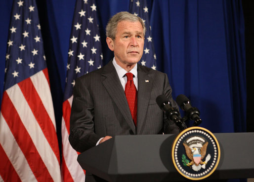 President George W. Bush addresses his remarks Tuesday, Feb. 19, 2008 in Dar es Salaam, Tanzania, regarding the independence of Kosovo. White House photo by Eric Draper