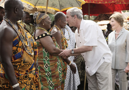 President George W. Bush and Mrs. Laura Bush greet Ghanaian tribal chiefs and members of tribes Wednesday, Feb. 20, 2008, in Accra, Ghana. President Bush met with 30 tribal chiefs during his visit to the International Trade Fair Center. White House photo by Shealah Craighead