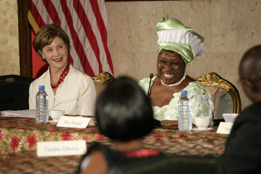 Mrs. Laura Bush participates in a roundtable discussion Thursday, February 21, 2008, in Monrovia, Liberia, with Karyumu Boakai, Spouse of Vice President Joseph Boakai, and local adults who have been faced with and persevered in working with Liberian youth who have been affected by the war. White House photo by Shealah Craighead