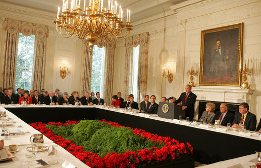 President George W. Bush speaks to a meeting of the National Governors Association Monday, Feb. 25, 2008, in the State Dining Room of the White House. White House photo by Joyce N. Boghosian