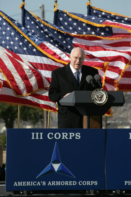 Vice President Dick Cheney delivers remarks during an Uncasing of the Colors Ceremony Tuesday, Feb. 26, 2008, at Fort Hood, Texas. White House photo by David Bohrer
