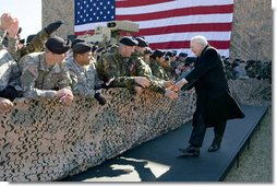 Vice President Dick Cheney greets U.S. Army troops Tuesday, Feb. 26, 2008 during a rally for the First Cavalry Division at Fort Hood, Texas. White House photo by David Bohrer