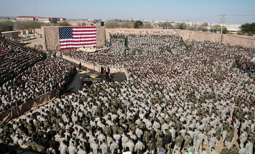 Vice President Dick Cheney delivers remarks to over 9,000 U.S. Army troops Tuesday, Feb. 26, 2008 at Fort Hood, Texas. During his remarks the Vice President expressed his appreciation for the service of soldiers of the First Cavalry Division and Three Corps who have recently returned from a 15-month deployment in Iraq. White House photo by David Bohrer