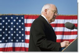 "Vice President Dick Cheney delivers remarks Tuesday, Feb. 26, 2008, during a rally for the troops of the First Cavalry Division and Three Corps at Fort Hood, Texas. In expressing his appreciation of the troops' service in Iraq the Vice President said, ""Whatever your future holds, you can always take satisfaction in the accomplishments of the past 15 months. You were there for America."" He added, ""As Vice President -- and more than that, as a citizen of this country -- I'm proud to look you in the eye to express my deep gratitude and total respect."" White House photo by David Bohrer"