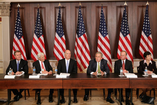 President George W. Bush participates in a meeting with former Cabinet Secretaries and Senior Government Officials on Free Trade Agreements Tuesday, Feb. 26, 2008, in the Eisenhower Executive Office Building in Washington, D.C. Joining the President from left are, former Defense Secretary William Cohen; former Commerce Secretary Bob Mosbacher; former Commerce Secretary Bill Daley; former White House Chief of Staff Mack McLarty; and former U.S. Trade Representative Carla Hills. White House photo by Chris Greenberg