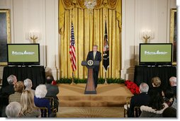 President George W. Bush, speaking Tuesday, Feb. 26, 2008 in the East Room of the White House, announces the launch of the National Endowment for the Humanities' Picturing America initiative, to promote the teaching, study, and understanding of American history and culture in schools. White House photo by Chris Greenberg