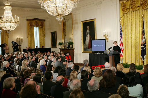 Mrs. Laura Bush addresses guests Tuesday, Feb. 26, 2008 in the East Room of the White House, during the launch of the National Endowment for the Humanities' Picturing America initiative, to promote the teaching, study, and understanding of American history and culture in schools. White House photo by Chris Greenberg