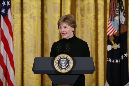 Mrs. Laura Bush welcomes invited guests Tuesday, Feb. 26, 2008 to the East Room of the White House, for the launch of the National Endowment for the Humanities' Picturing America initiative, to promote the teaching, study, and understanding of American history and culture in schools. White House photo by Chris Greenberg