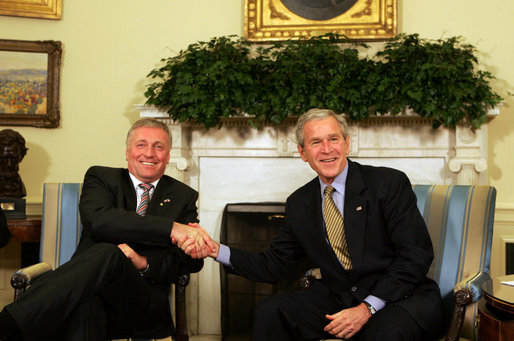 President George W. Bush shakes hands with Prime Minister of the Czech Republic, Mirek Topolanek, during their meeting Wednesday, Feb. 27, 2008, in the Oval Office. White House photo by Joyce N. Boghosian
