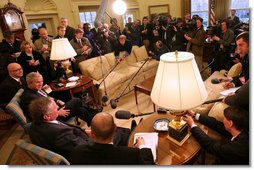 President George W. Bush and Mirek Topolanek, Prime Minister of the Czech Republic, address reporters Wednesday, Feb. 27, 2008, in the Oval Office. White House photo by Joyce N. Boghosian