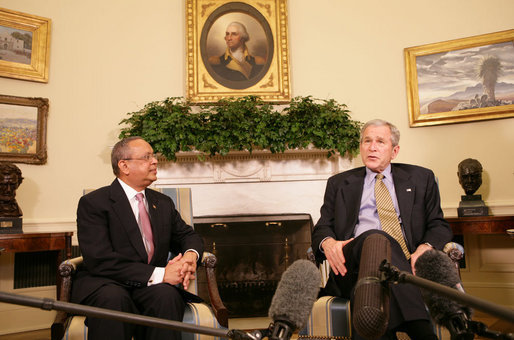 President George W. Bush meets with Sada Cumber, the first U.S. envoy to the Organization of the Islamic Conference Wednesday, Feb. 27, 2008, in the Oval Office. White House photo by Chris Greenberg