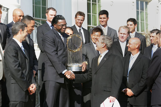 President Bush shakes hands with Boston Red Sox David Ortiz during a ceremony honoring the 2007 World Series Champion Boston Red Sox, Wednesday, Feb. 27, 2008, on the South Lawn of the White House. White House photo by Chris Greenberg