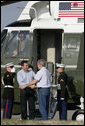 President George W. Bush welcomes Prime Minister Anders Fogh Rasmussen of Denmark and his wife, Anne-Mette Rasmussen to the Bush Ranch Friday, Feb. 29, 2008, in Crawford, Texas. White House photo by Shealah Craighead