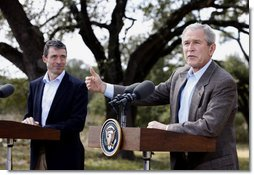 President George W. Bush speaks during joint a press availability with Prime Minister Anders Fogh Rasmussen of Denmark at The Bush Ranch in Crawford, Texas, Saturday, March 1, 2008, in Crawford, Texas. White House photo by Eric Draper
