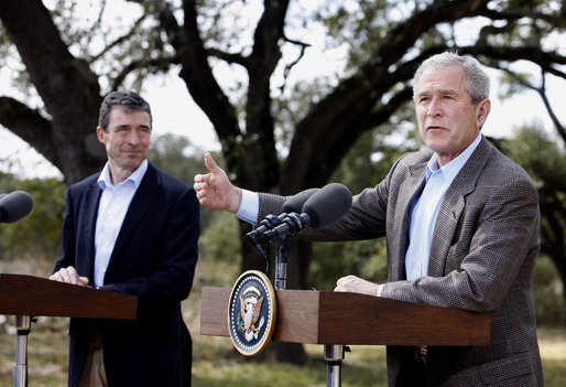 President George W. Bush speaks during a joint press availability with Prime Minister Anders Fogh Rasmussen of Denmark at The Bush Ranch in Crawford, Texas, Saturday, March 1, 2008, in Crawford, Texas. White House photo by Eric Draper