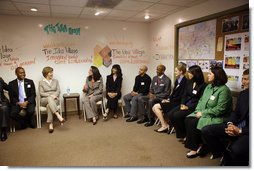 Mrs. Laura Bush meets with New Orleans' young professional leaders during a discussion Monday, March 3, 2008 in New Orleans, to highlight the upsurge in civic involvement and the grassroots leadership of young professionals to help rebuild their community. White House photo by Shealah Craighead