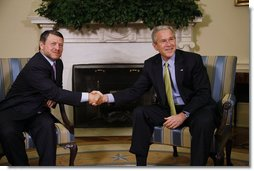 "President George W. Bush welcomes King Abdullah II to the Oval Office Tuesday, March 4, 2008. President Bush told the King of Jordan, ""I value your friendship and I value your leadership. And I appreciate you coming back. America has got no stronger friend in the Middle East than Jordan.""  White House photo by Eric Draper"