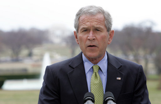 "President George W. Bush delivers a statement regarding the situation in Colombia from the South Lawn of the White House Tuesday, March 4, 2008. The President, who spoke with Colombia's President Uribe earlier in the day, said, ""I told the President that America fully supports Colombia's democracy, and that we firmly oppose any acts of aggression that could destabilize the region."" White House photo by Chris Greenberg"