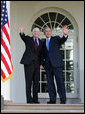 "President George W. Bush and Senator John McCain (R-Ariz.) wave after delivering a statement Wednesday, March 5, 2008, in the Rose Garden of the White House. In welcoming Senator McCain and his wife, Cindy, the President said, ""A while back I don't think many people would have thought that John McCain would be here as the nominee of the Republican Party -- except he knew he would be here, and so did his wife, Cindy."" White House photo by Joyce N. Boghosian"