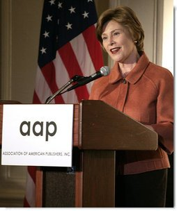 "Mrs. Laura Bush addresses the 2008 Annual Meeting of the Association of American Publishers at the Yale Club in New York City Wednesday, March 5, 2008. Mrs. Bush told the group, ""Thank you to each one of you for raising awareness about the benefits and the necessity of literacy. We owe our future to people like you, who appreciate and facilitate the wonders of a good book, who call attention to the immense blessings of reading, and who tap the resources of great writers and pour them into books for the rest of us to read."" White House photo by Shealah Craighead"