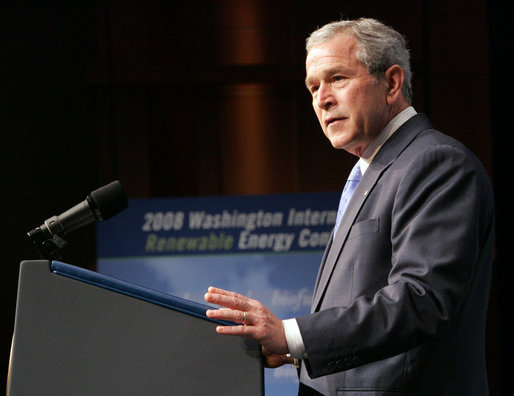 President George W. Bush delivers remarks to the Washington International Renewable Energy Conference 2008 Wednesday, March 5, 2008, at the Washington Convention Center in Washington, D.C. White House photo by Chris Greenberg