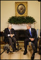 "President George W. Bush welcomes Cpl. Frank Woodruff Buckles, the last known surviving American-born WWI veteran, to the Oval Office Thursday, March 6, 2008. The President told the 107-year-old, "".One way for me to honor the service of those who wear the uniform in the past and those who wear it today is to herald you, sir, and to thank you very much for your patriotism and your love for America."" White House photo by Eric Draper"