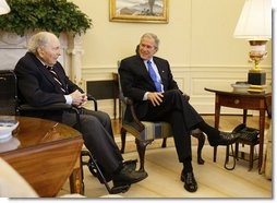 "President George W. Bush visits with Cpl. Frank Woodruff Buckles in the Oval Office, Thursday, March 6, 2008. Said the President, ""Sitting next to me is Mr. Frank Buckles, 107-years-young, and he is the last living Doughboy from World War I. And it has been my high honor to welcome Mr. Buckles, and his daughter, Susannah, here to the Oval Office.""  White House photo by Eric Draper"