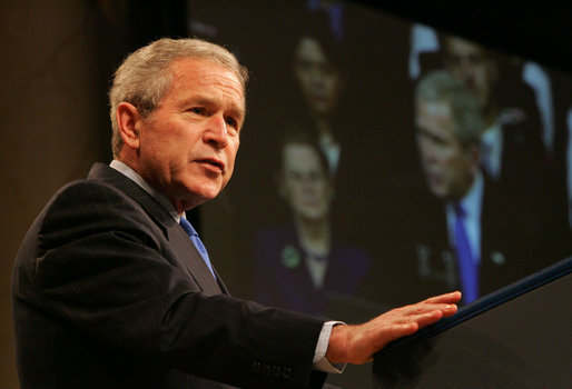 "President George W. Bush delivers remarks Thursday, March 6, 2008, during the commemoration of the 5th anniversary of the U.S. Department of Homeland Security. The President told his audience, "".It's your vigilance and your hard work that have helped keep this country safe. And so I want to thank you."" White House photo by Chris Greenberg"
