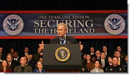 President George W. Bush addresses the audience at Constitution Hall in Washington, D.C., Thursday, March 6, 2008, during a commemoration of the 5th anniversary of the U.S. Department of Homeland Security. White House photo by Chris Greenberg