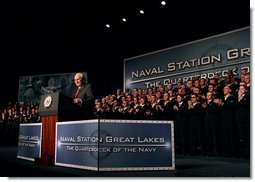 Vice President Dick Cheney delivers remarks to U.S. Naval recruits and sailors Friday, March 7, 2008, at Naval Station Great Lakes in Great Lakes, Ill. White House photo by David Bohrer
