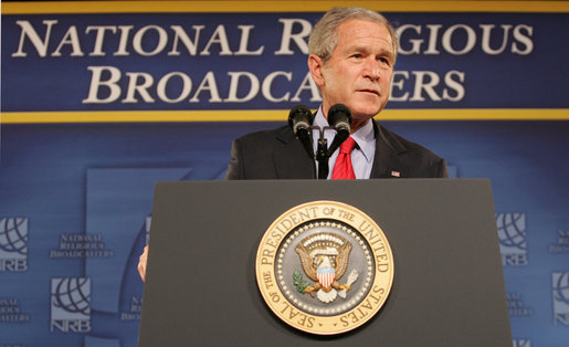 President George W. Bush addresses his remarks at the National Religious Broadcasters convention Tuesday, March 11, 2008 in Nashville, Tenn. White House photo by Chris Greenberg