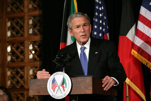 President George W. Bush delivers remarks at the Kuwait-America Foundation's Stand for Africa Gala Dinner Wednesday, March 12, 2008, at the Residence of the Ambassador of Kuwait. President Bush spoke about the President's Malaria Initiative (PMI) and the importance of fighting malaria in Africa. White House photo by Chris Greenberg
