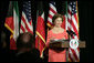 Mrs. Laura Bush delivers remarks at the Kuwait-America Foundation's Stand for Africa Gala Dinner Wednesday, March 12, 2008, at the Residence of the Ambassador of Kuwait. White House photo by Shealah Craighead