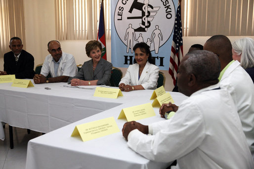 Mrs. Laura Bush attends a briefing Thursday, March 13, 2008 at the GHESKIO HIV/AIDS Center in Port-au-Prince, Haiti. GHESKIO is a participant in the President's Emergency Plan for AIDS Relief (PEPFAR), which has contributed approximately $365 million to fight HIV/AIDS in Haiti. White House photo by Shealah Craighead
