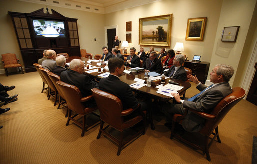 President George W. Bush participates in a video teleconference with Afghanistan Provincial Reconstruction Team Leaders and Brigade Combat Commanders Thursday, March 13, 2008, in the Roosevelt Room of the White House. White House photo by Eric Draper