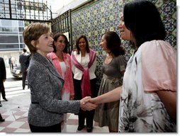 Mrs. Laura Bush is greeted Friday, March 14, 2008, on her arrival to a meeting of the Mexican Association Against Breast Cancer (Fundacion Cim*ab) in Mexico City. From left are Mrs. Maria Asuncion Garza, wife of U.S. Ambassador to Mexico Antonio Garza, Jr., Mrs. Margarita Zavala, wife of Mexico's President Felipe Calderon, Ms. Bertha Aguilar de Garcia, president of Cim*ab, and Ms. Rosaela Gijon, director of Cim*ab. White House photo by Shealah Craighead