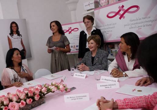 Mrs. Laura Bush participates in a meeting of the Mexican Association Against Breast Cancer (Fundacion Cim*ab) Friday, March 14, 2008 in Mexico City. White House photo by Shealah Craighead
