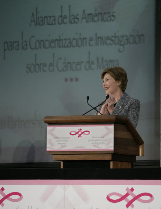 Mrs. Laura Bush addresses an audience Friday, March 14, 2008, prior to the signing of the U.S.-Mexico Partnership for Breast Cancer Awareness and Research agreement at the Interactive Economics Museum in Mexico City. White House photo by Shealah Craighead