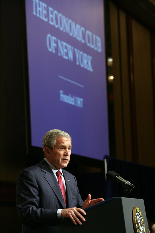 "President George W. Bush delivers remarks on the economy to the Economic Club of New York Friday, March 14, 2008, in New York City, New York. President Bush said ""I've seen what happens when America deals with difficulty. I believe that we're a resilient economy, and I believe that the ingenuity and resolve of the American people is what helps us deal with these issues."" White House photo by Chris Greenberg"