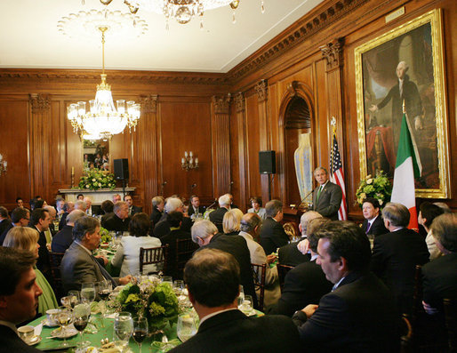 President George W. Bush addresses the Speaker of the House's annual St. Patrick's Day luncheon Monday, March 17, 2008 at the U.S. Capitol in Washington, D.C. White House photo by Chris Greenberg