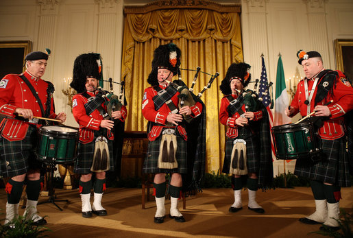 Pipers from the FDNY Emerald Society Pipes and Drums perform in the East Room Monday, March 17, 2008, during a St. Patrick's Day reception at the White House. White House photo by Shealah Craighead