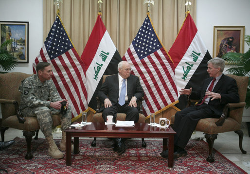 Vice President Dick Cheney participates in a classified briefing with U.S. Ambassador to Iraq Ryan Crocker, left, and Commanding General of Multi-National Forces Iraq General David Petraeus, right, in the Green Zone in Baghdad. Later in the day the Vice President ventured outside the Green Zone to meet with Iraqi leadership to discuss energy legislation, long-term security issues and the development of Iraqi diplomatic relationships with neighboring countries. White House photo by David Bohrer