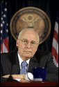 "Vice President Dick Cheney listens to a reporter's question Monday, March 17, 2008 during press availability with General David Petraeus and U.S. Ambassador to Iraq Ryan Crocker (not pictured) inside the Green Zone in Baghdad. ""This week marks the fifth anniversary since we launched into Iraq in March of '03,"" said the Vice President during the press availability, adding, ""If you reflect back on those five years, I think it's been a difficult, challenging, but nonetheless successful endeavor; that we've come a long way in five years, and that it's been well worth the effort."" White House photo by David Bohrer"