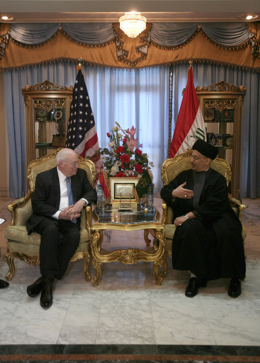 "Vice President Dick Cheney meets with the Chairman of the Supreme Council for the Islamic Revolution in Iraq Sayyed Abdul-Aziz al-Hakim Monday, March 17, 2008 at the Hakim residence in Baghdad. During a statement following their meeting the Vice President said, ""There is still a lot of difficult work that must be done, but as we move forward, the Iraqi people should know that they will have the unwavering support of President Bush and the United States in consolidating their democracy."" White House photo by David Bohrer"